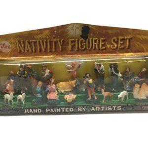 NOS Vintage Nativity Set 1940s  Christmas 20 piece